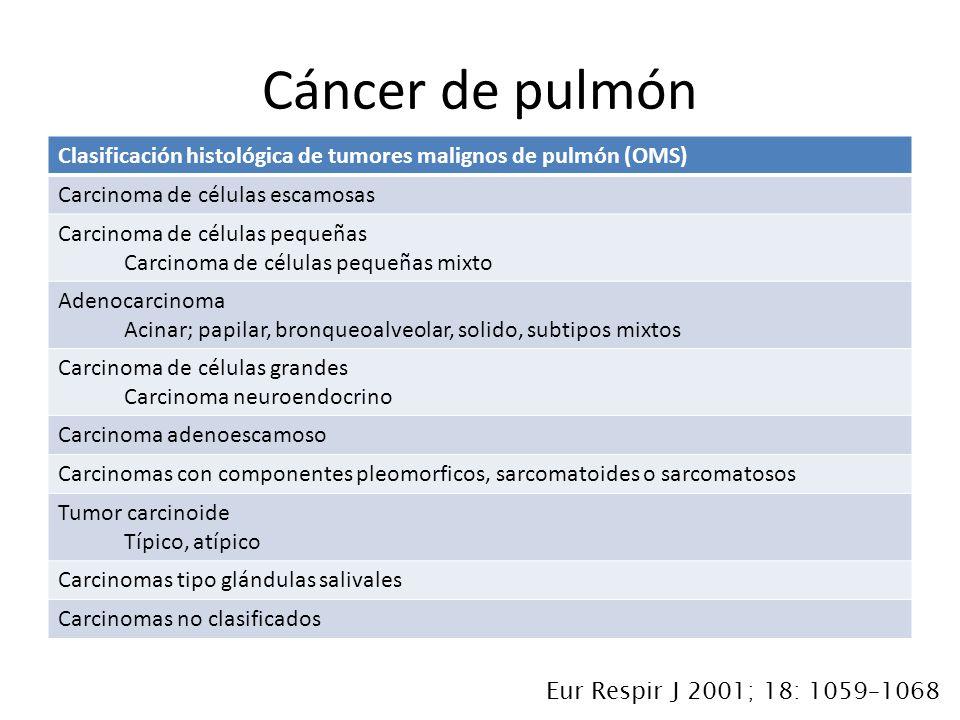 Clasificación histológica de tumores malignos de pulmón (OMS) Carcinoma de células escamosas Carcinoma de células pequeñas Carcinoma de células pequeñ