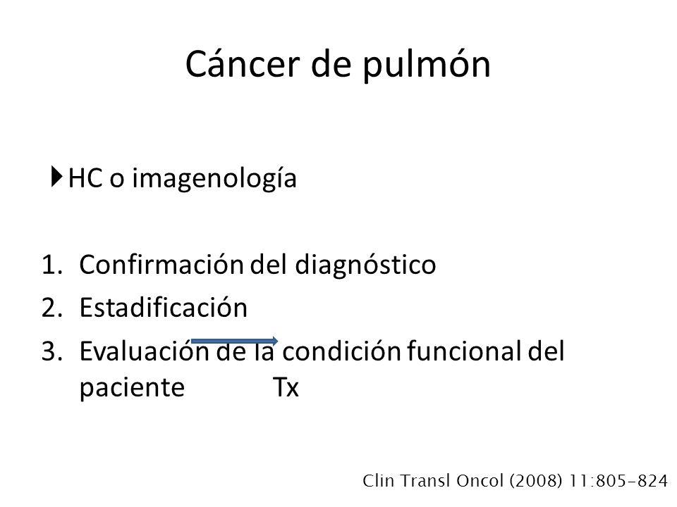 HC o imagenología 1.Confirmación del diagnóstico 2.Estadificación 3.Evaluación de la condición funcional del paciente Tx Cáncer de pulmón Clin Transl Oncol (2008) 11:805-824
