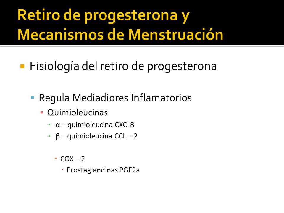 Fisiología del retiro de progesterona Regula Mediadiores Inflamatorios Quimioleucinas α – quimioleucina CXCL8 β – quimioleucina CCL – 2 COX – 2 Prosta