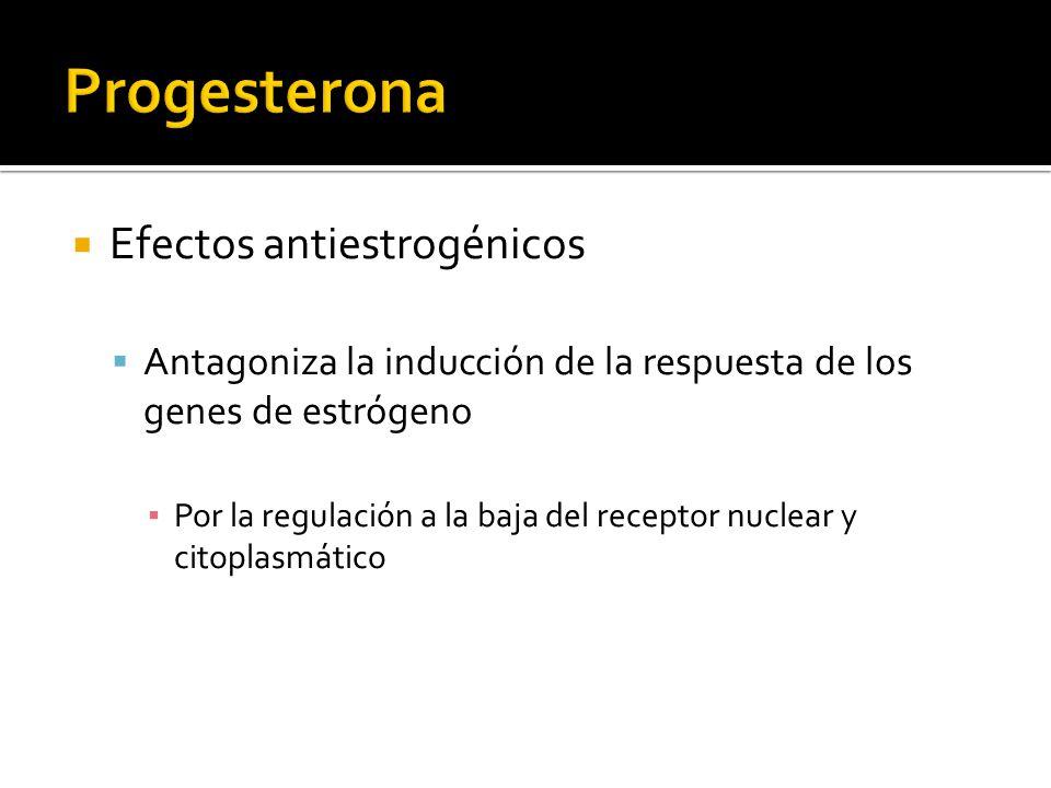 Efectos antiestrogénicos Antagoniza la inducción de la respuesta de los genes de estrógeno Por la regulación a la baja del receptor nuclear y citoplas