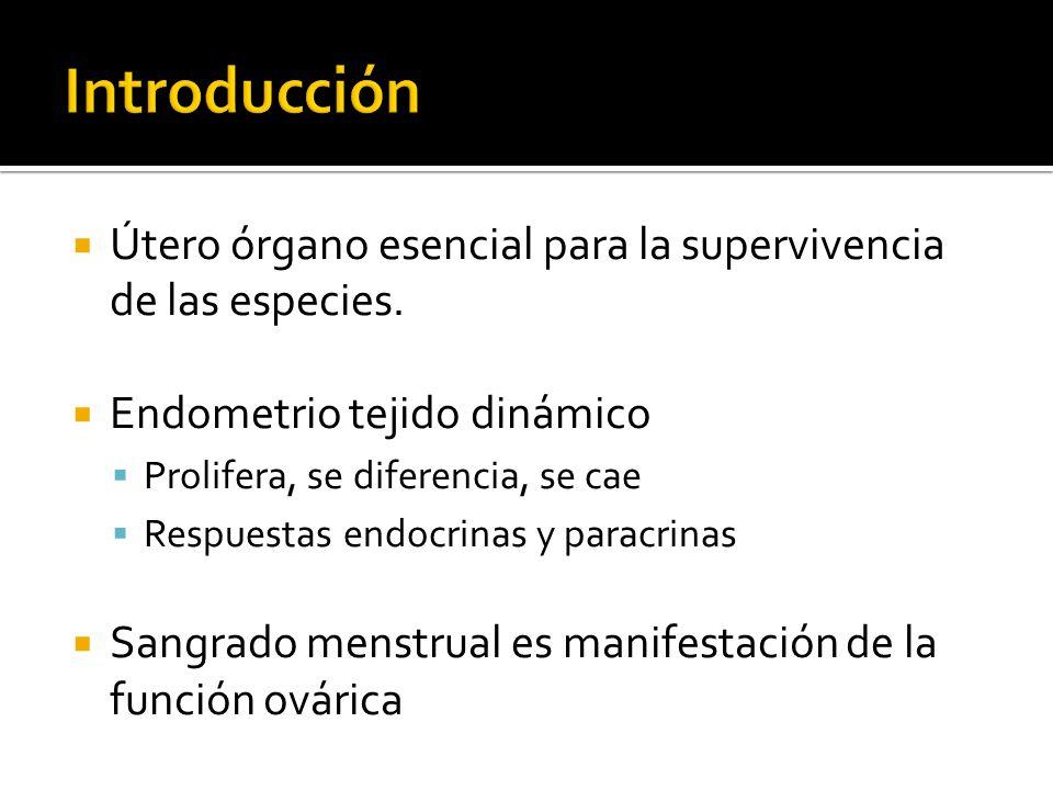 Útero órgano esencial para la supervivencia de las especies. Endometrio tejido dinámico Prolifera, se diferencia, se cae Respuestas endocrinas y parac