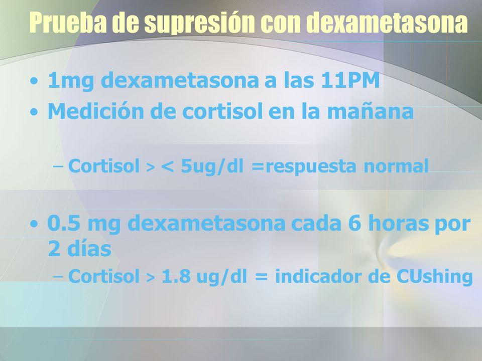Prueba de supresión con dexametasona 1mg dexametasona a las 11PM Medición de cortisol en la mañana –Cortisol > < 5ug/dl =respuesta normal 0.5 mg dexametasona cada 6 horas por 2 días –Cortisol > 1.8 ug/dl = indicador de CUshing