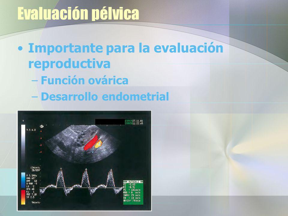 Evaluación pélvica Importante para la evaluación reproductiva –Función ovárica –Desarrollo endometrial