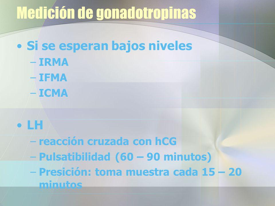Medición de gonadotropinas Si se esperan bajos niveles –IRMA –IFMA –ICMA LH –reacción cruzada con hCG –Pulsatibilidad (60 – 90 minutos) –Presición: toma muestra cada 15 – 20 minutos