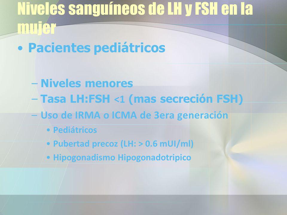 Pacientes pediátricos –Niveles menores –Tasa LH:FSH <1 (mas secreción FSH) –Uso de IRMA o ICMA de 3era generación Pediátricos Pubertad precoz (LH: > 0.6 mUI/ml) Hipogonadismo Hipogonadotripico Niveles sanguíneos de LH y FSH en la mujer