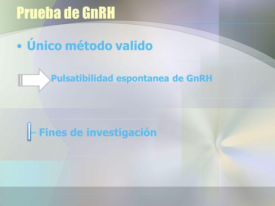 Prueba de GnRH Único método valido Pulsatibilidad espontanea de GnRH –Fines de investigación