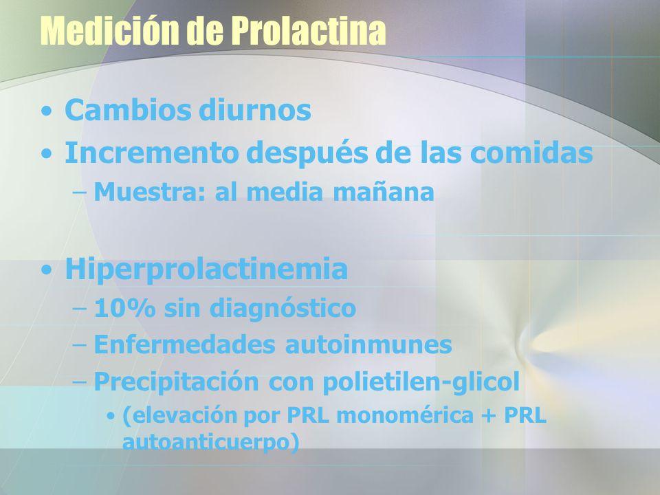Medición de Prolactina Cambios diurnos Incremento después de las comidas –Muestra: al media mañana Hiperprolactinemia –10% sin diagnóstico –Enfermedades autoinmunes –Precipitación con polietilen-glicol (elevación por PRL monomérica + PRL autoanticuerpo)