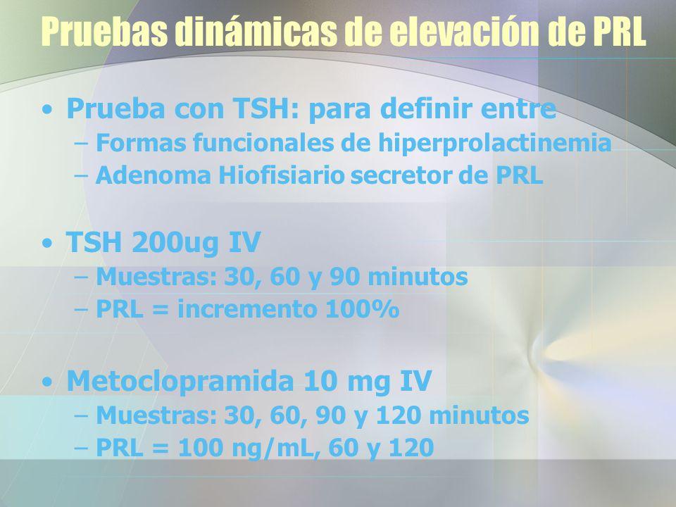Pruebas dinámicas de elevación de PRL Prueba con TSH: para definir entre –Formas funcionales de hiperprolactinemia –Adenoma Hiofisiario secretor de PRL TSH 200ug IV –Muestras: 30, 60 y 90 minutos –PRL = incremento 100% Metoclopramida 10 mg IV –Muestras: 30, 60, 90 y 120 minutos –PRL = 100 ng/mL, 60 y 120