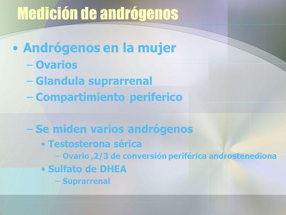 Medición de andrógenos Andrógenos en la mujer –Ovarios –Glandula suprarrenal –Compartimiento periferico –Se miden varios andrógenos Testosterona sérica –Ovario,2/3 de conversión periférica androstenediona Sulfato de DHEA –Suprarrenal