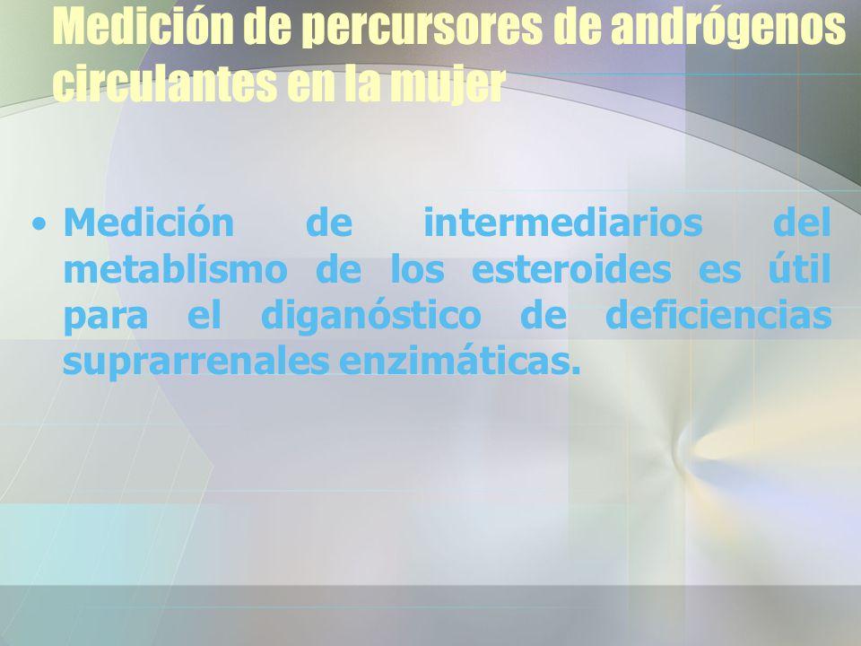 Medición de percursores de andrógenos circulantes en la mujer Medición de intermediarios del metablismo de los esteroides es útil para el diganóstico de deficiencias suprarrenales enzimáticas.
