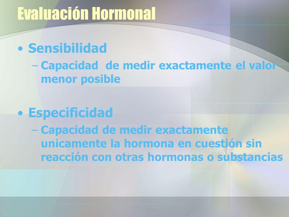 Evaluación Hormonal Sensibilidad –Capacidad de medir exactamente el valor menor posible Especificidad –Capacidad de medir exactamente unicamente la hormona en cuestión sin reacción con otras hormonas o substancias