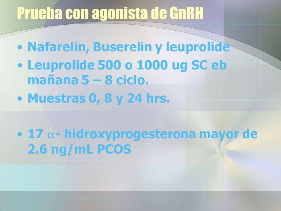 Prueba con agonista de GnRH Nafarelin, Buserelin y leuprolide Leuprolide 500 o 1000 ug SC eb mañana 5 – 8 ciclo.