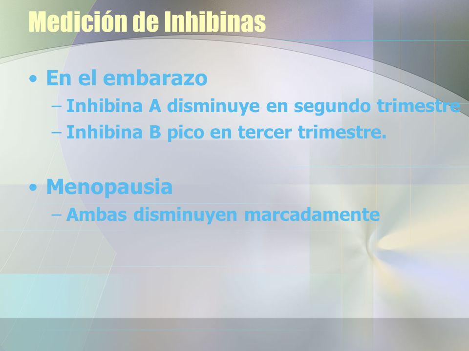 Medición de Inhibinas En el embarazo –Inhibina A disminuye en segundo trimestre –Inhibina B pico en tercer trimestre.