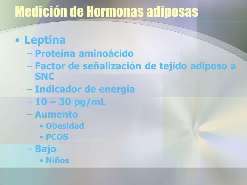 Medición de Hormonas adiposas Leptina –Proteína aminoácido –Factor de señalización de tejido adiposo a SNC –Indicador de energía –10 – 30 pg/mL –Aumento Obesidad PCOS –Bajo Niños