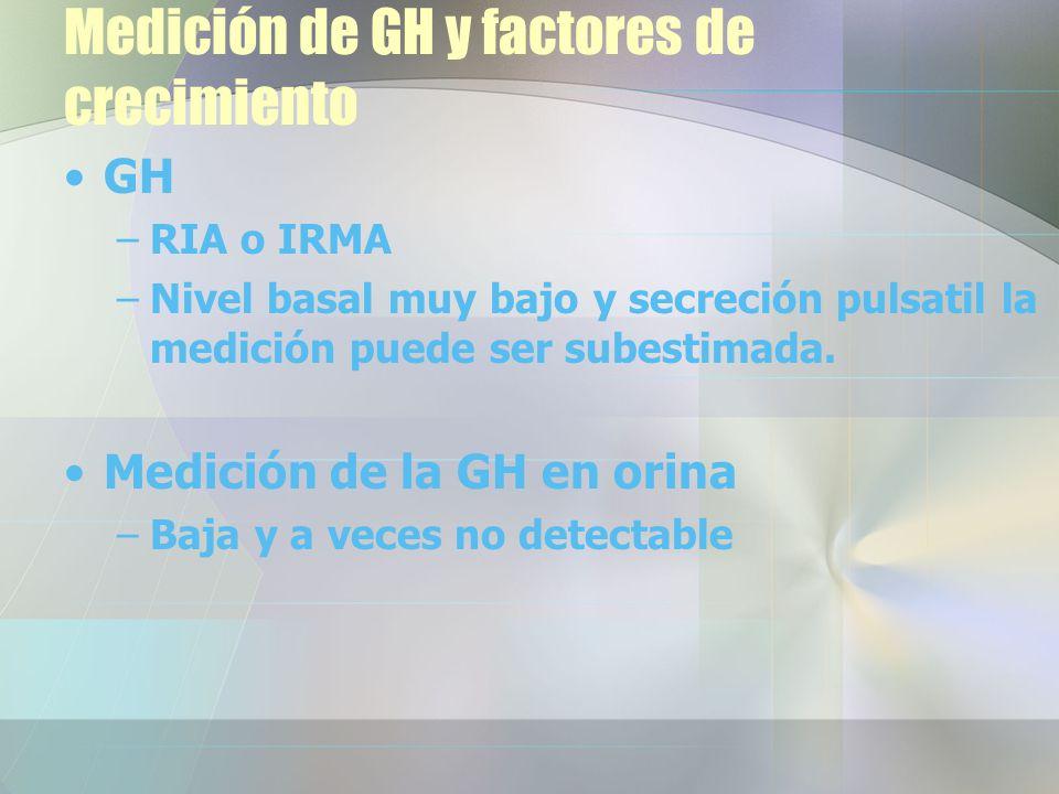 Medición de GH y factores de crecimiento GH –RIA o IRMA –Nivel basal muy bajo y secreción pulsatil la medición puede ser subestimada.