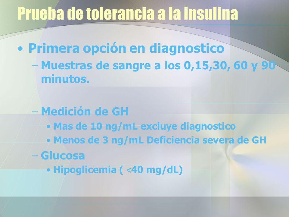 Prueba de tolerancia a la insulina Primera opción en diagnostico –Muestras de sangre a los 0,15,30, 60 y 90 minutos.