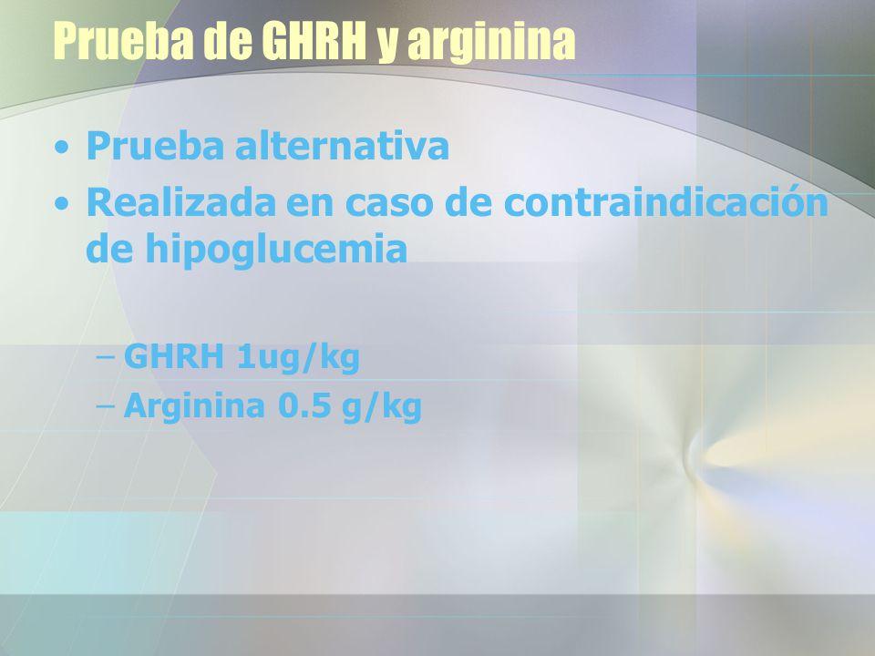Prueba de GHRH y arginina Prueba alternativa Realizada en caso de contraindicación de hipoglucemia –GHRH 1ug/kg –Arginina 0.5 g/kg