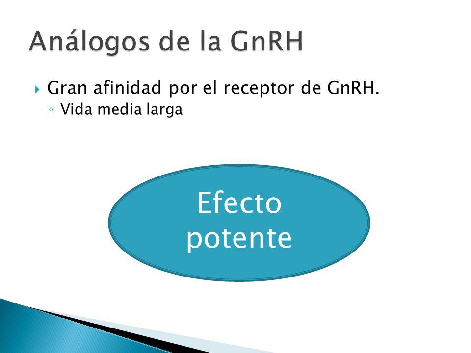 Gran afinidad por el receptor de GnRH. Vida media larga Efecto potente