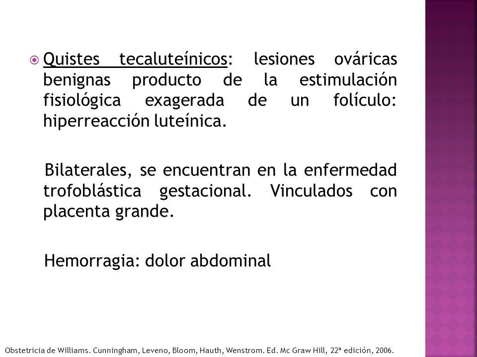 Quistes tecaluteínicos: lesiones ováricas benignas producto de la estimulación fisiológica exagerada de un folículo: hiperreacción luteínica. Bilatera