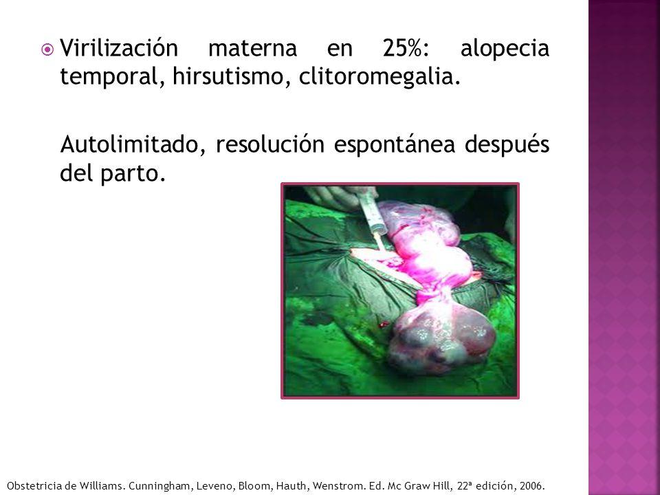 Virilización materna en 25%: alopecia temporal, hirsutismo, clitoromegalia. Autolimitado, resolución espontánea después del parto. Obstetricia de Will