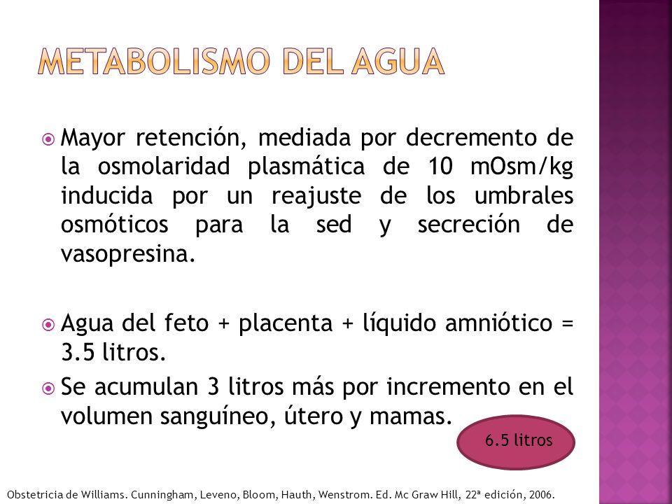 Mayor retención, mediada por decremento de la osmolaridad plasmática de 10 mOsm/kg inducida por un reajuste de los umbrales osmóticos para la sed y se