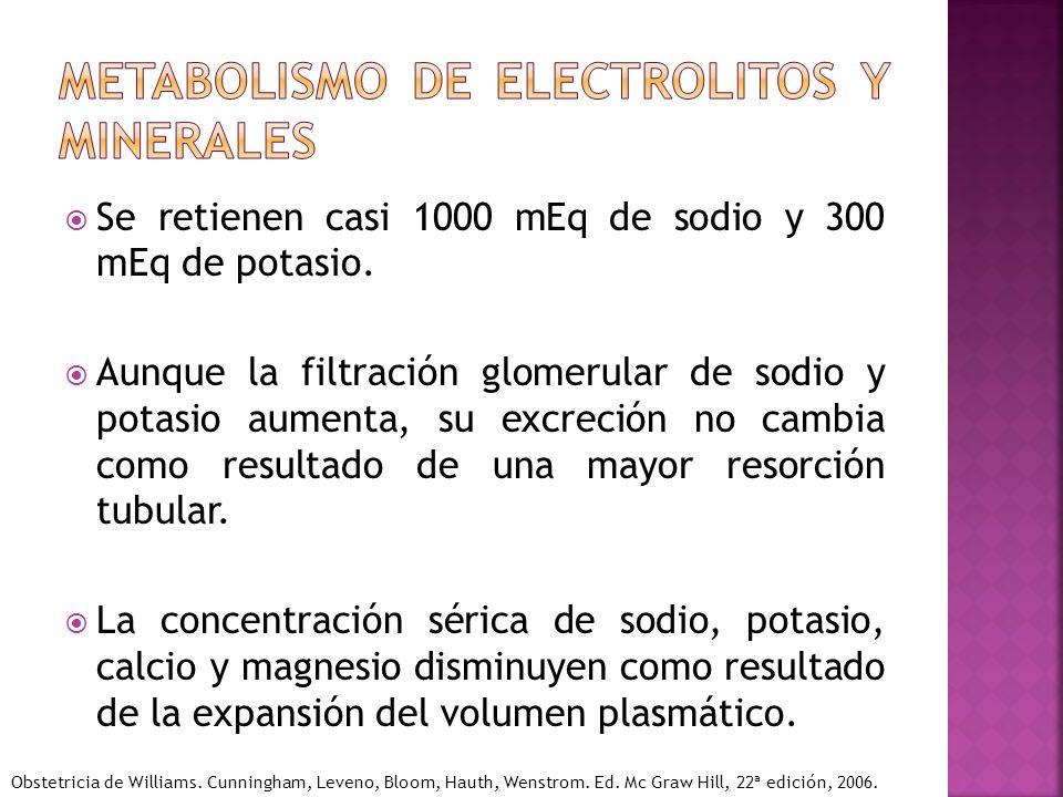 Se retienen casi 1000 mEq de sodio y 300 mEq de potasio. Aunque la filtración glomerular de sodio y potasio aumenta, su excreción no cambia como resul