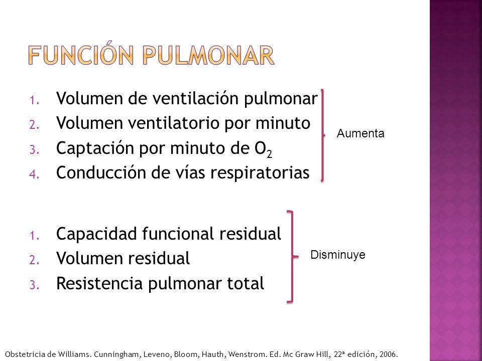 1. Volumen de ventilación pulmonar 2. Volumen ventilatorio por minuto 3. Captación por minuto de O 2 4. Conducción de vías respiratorias 1. Capacidad