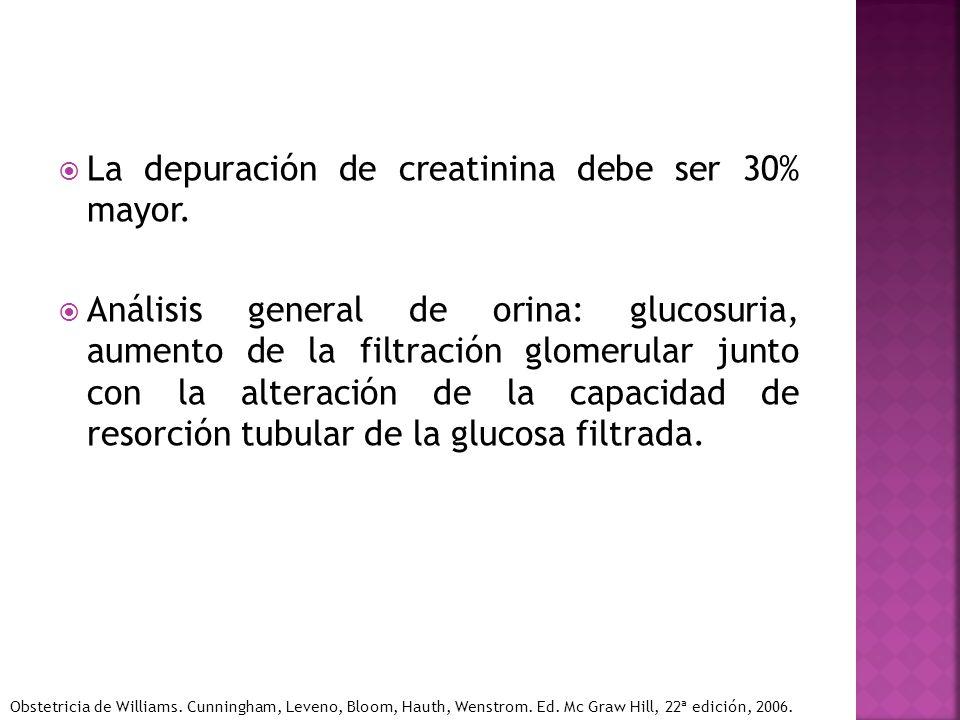 La depuración de creatinina debe ser 30% mayor. Análisis general de orina: glucosuria, aumento de la filtración glomerular junto con la alteración de