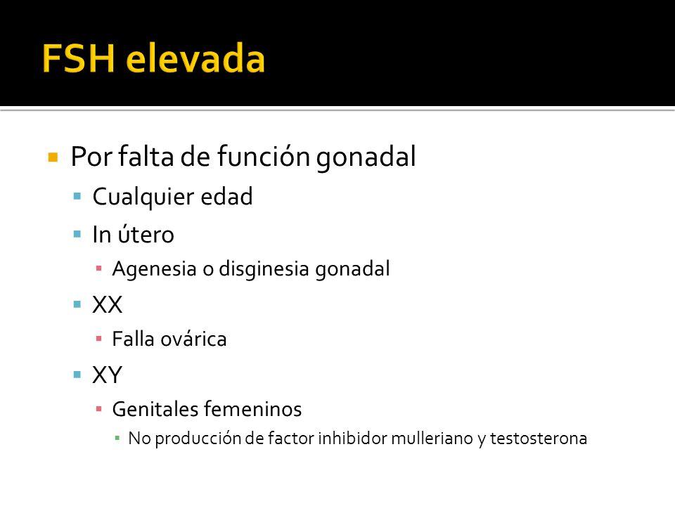 Por falta de función gonadal Cualquier edad In útero Agenesia o disginesia gonadal XX Falla ovárica XY Genitales femeninos No producción de factor inhibidor mulleriano y testosterona