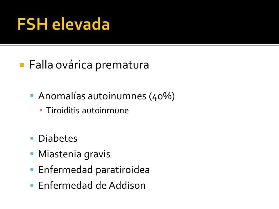 Falla ovárica prematura Anomalías autoinumnes (40%) Tiroiditis autoinmune Diabetes Miastenia gravis Enfermedad paratiroidea Enfermedad de Addison