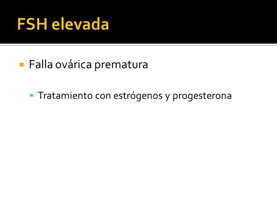Falla ovárica prematura Tratamiento con estrógenos y progesterona