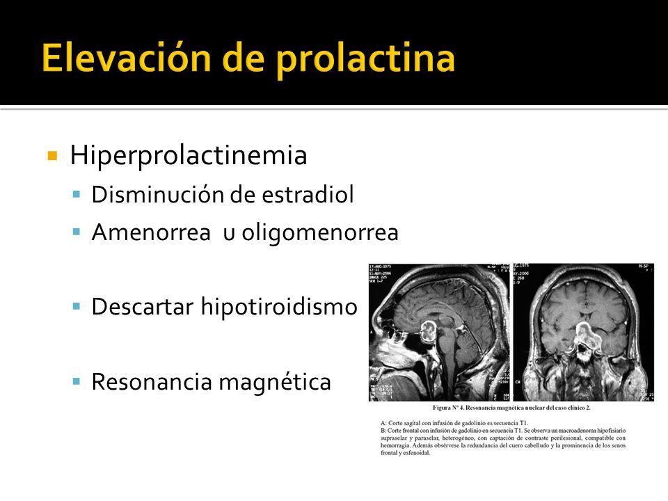 Hiperprolactinemia Disminución de estradiol Amenorrea u oligomenorrea Descartar hipotiroidismo Resonancia magnética