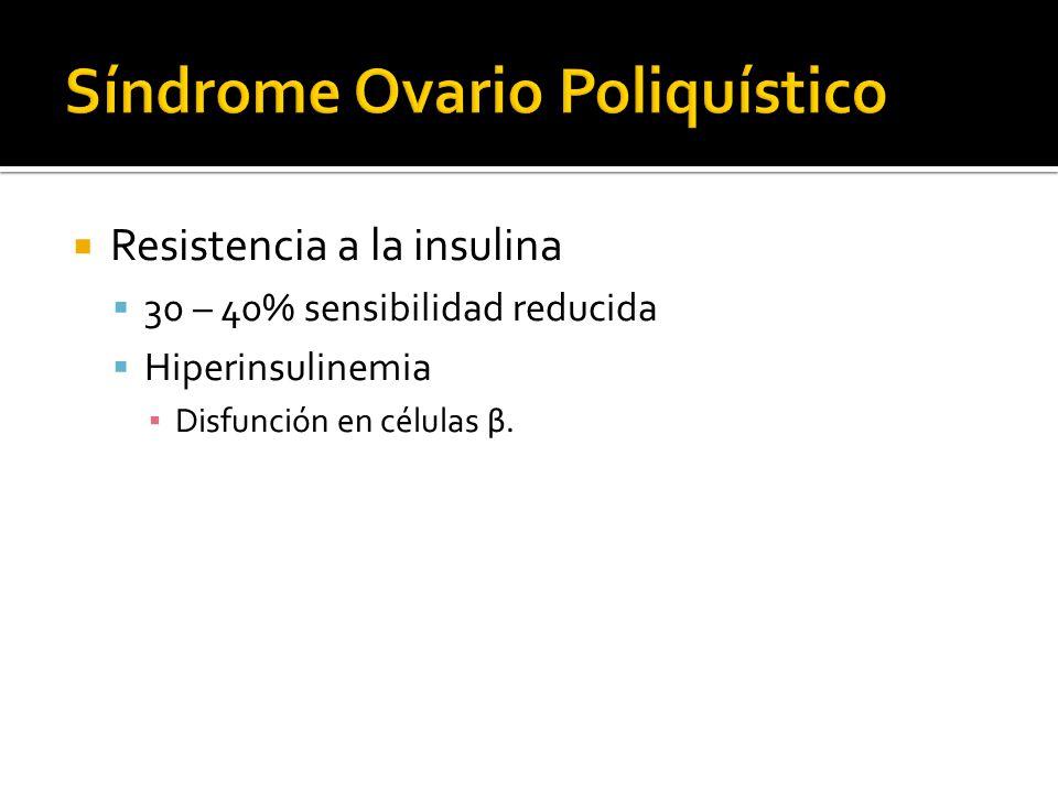Resistencia a la insulina 30 – 40% sensibilidad reducida Hiperinsulinemia Disfunción en células β.