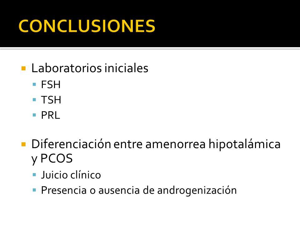 Laboratorios iniciales FSH TSH PRL Diferenciación entre amenorrea hipotalámica y PCOS Juicio clínico Presencia o ausencia de androgenización