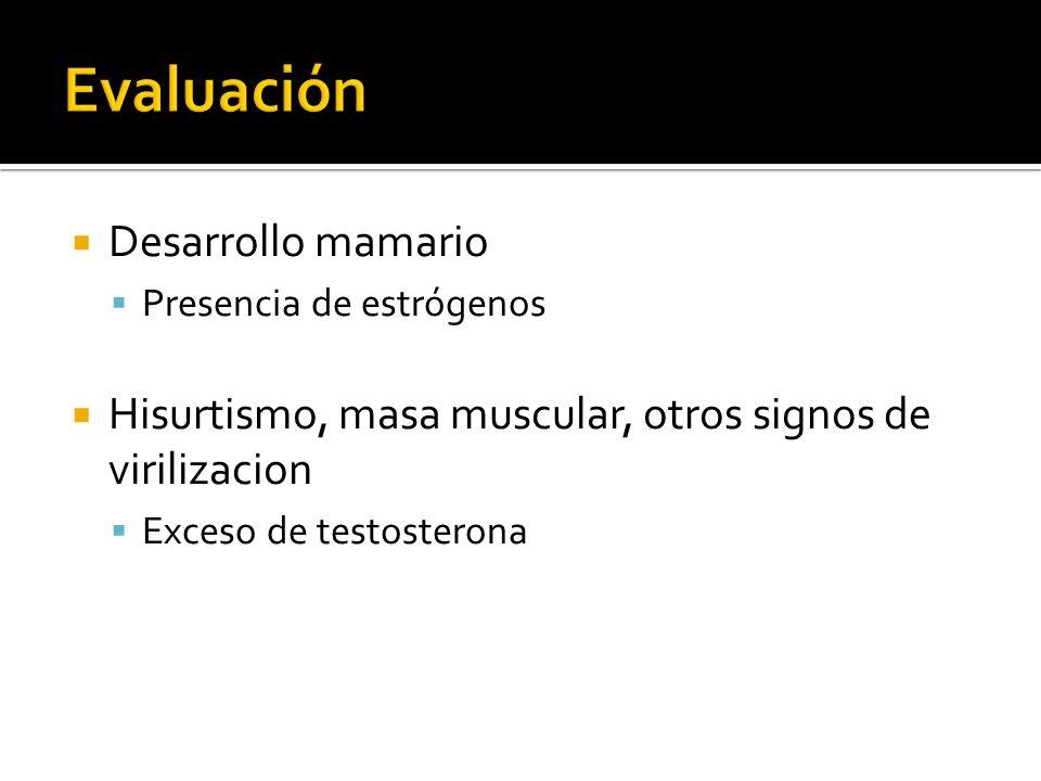 Desarrollo mamario Presencia de estrógenos Hisurtismo, masa muscular, otros signos de virilizacion Exceso de testosterona