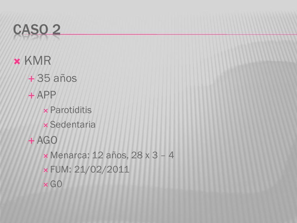 KMR 35 años APP Parotiditis Sedentaria AGO Menarca: 12 años, 28 x 3 – 4 FUM: 21/02/2011 G0