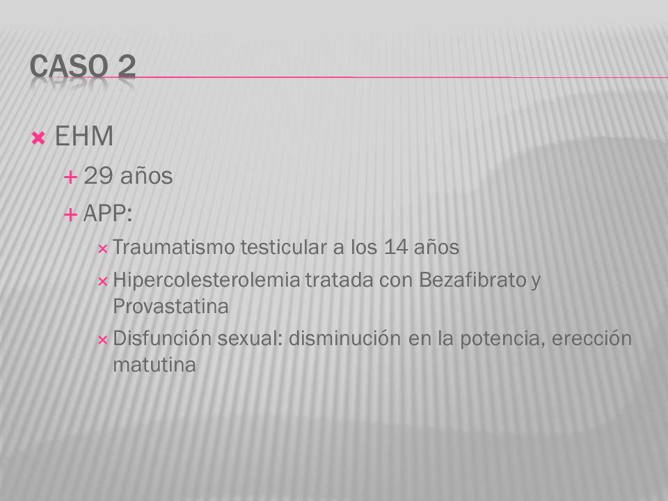 EHM 29 años APP: Traumatismo testicular a los 14 años Hipercolesterolemia tratada con Bezafibrato y Provastatina Disfunción sexual: disminución en la