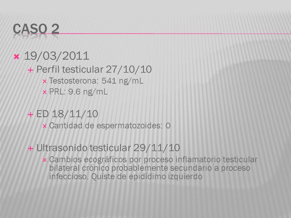 19/03/2011 Perfil testicular 27/10/10 Testosterona: 541 ng/mL PRL: 9.6 ng/mL ED 18/11/10 Cantidad de espermatozoides: 0 Ultrasonido testicular 29/11/1