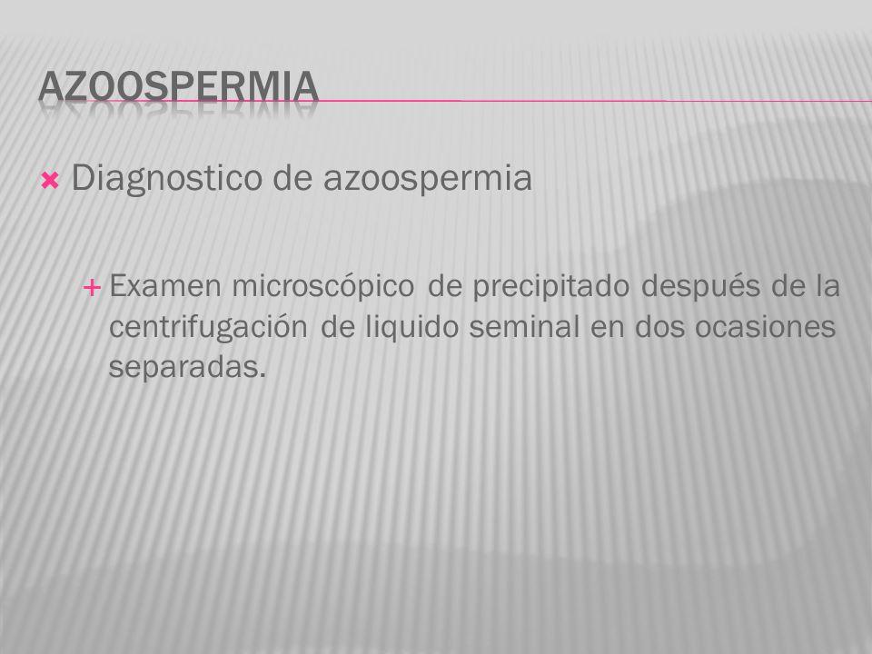 Diagnostico de azoospermia Examen microscópico de precipitado después de la centrifugación de liquido seminal en dos ocasiones separadas.