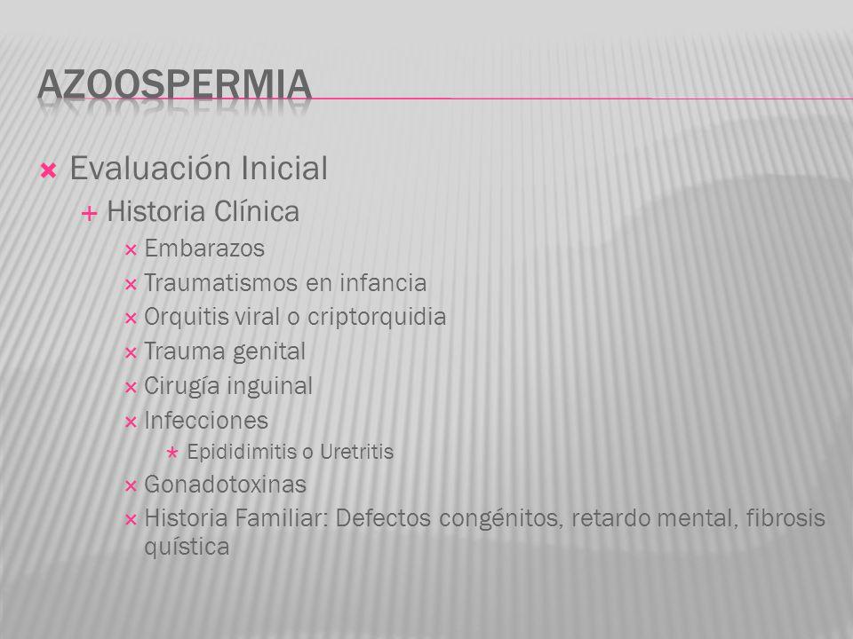 Evaluación Inicial Historia Clínica Embarazos Traumatismos en infancia Orquitis viral o criptorquidia Trauma genital Cirugía inguinal Infecciones Epid