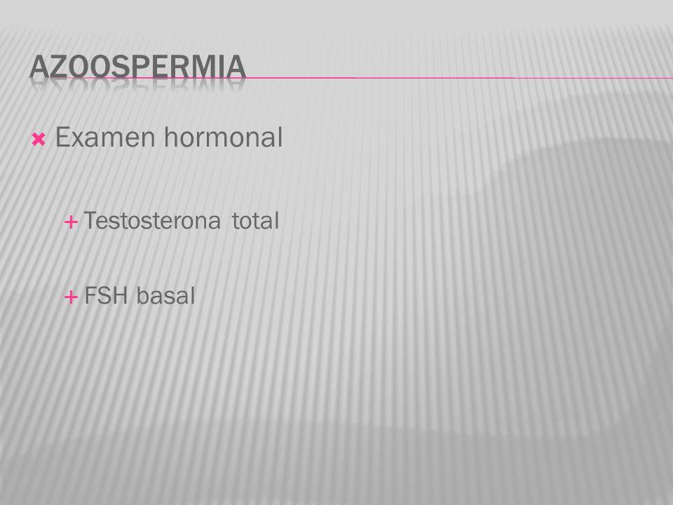 Examen hormonal Testosterona total FSH basal