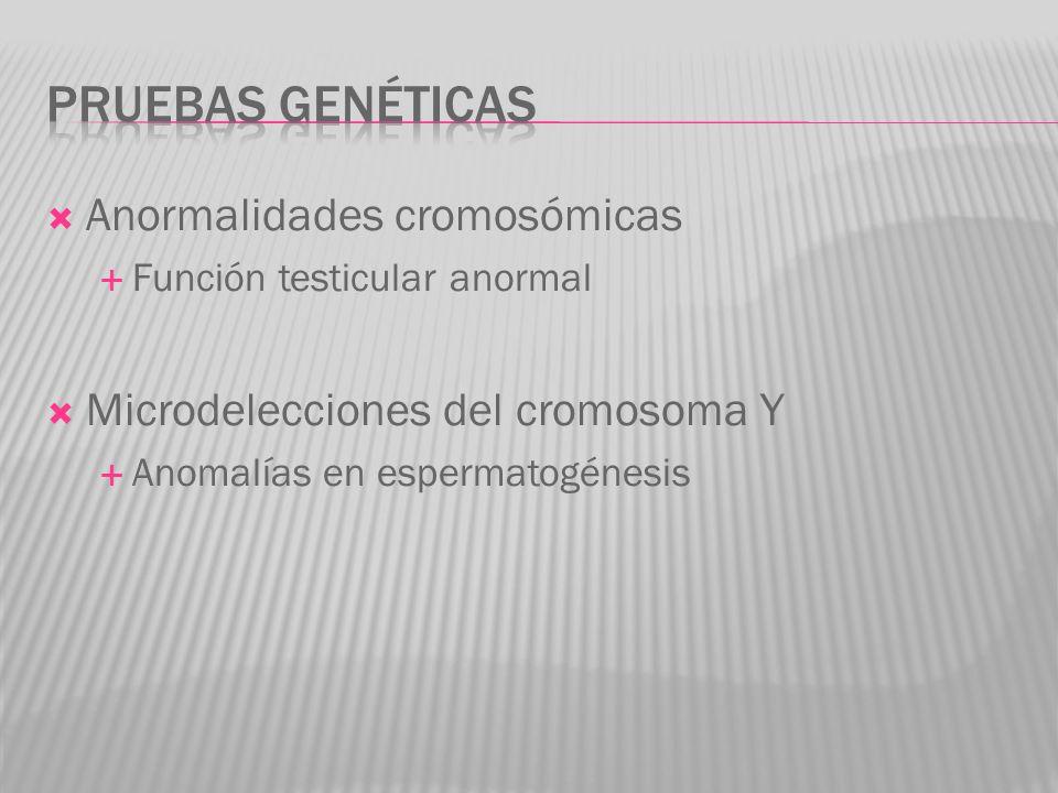Anormalidades cromosómicas Función testicular anormal Microdelecciones del cromosoma Y Anomalías en espermatogénesis