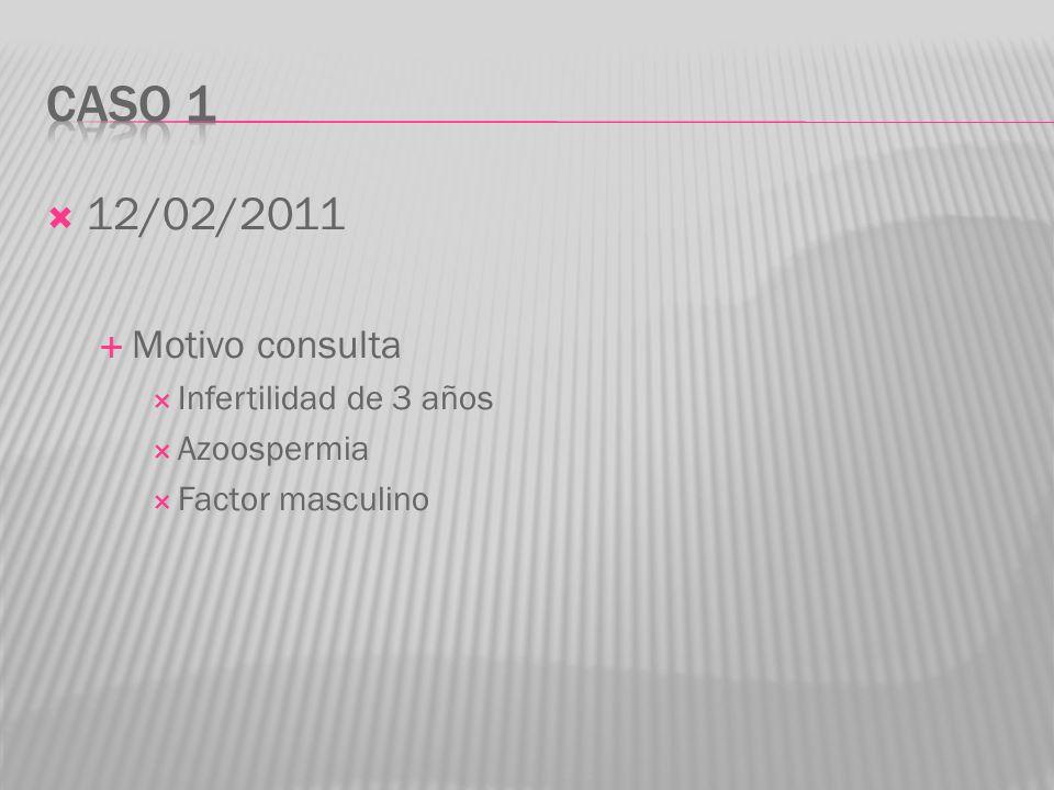 12/02/2011 Motivo consulta Infertilidad de 3 años Azoospermia Factor masculino