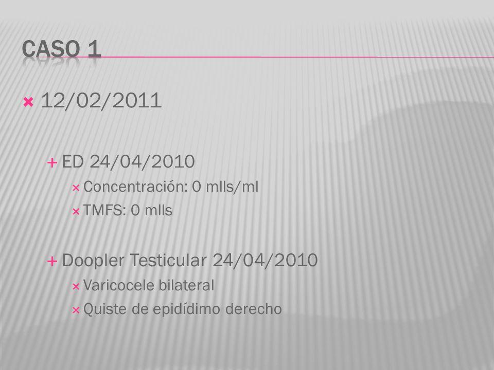 12/02/2011 ED 24/04/2010 Concentración: 0 mlls/ml TMFS: 0 mlls Doopler Testicular 24/04/2010 Varicocele bilateral Quiste de epidídimo derecho