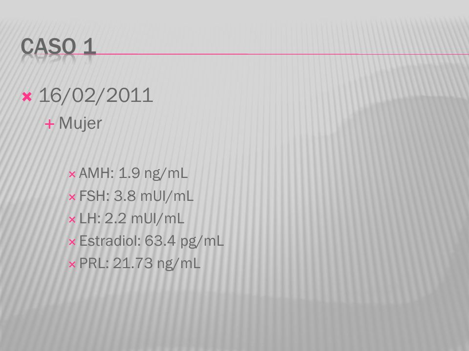 16/02/2011 Mujer AMH: 1.9 ng/mL FSH: 3.8 mUI/mL LH: 2.2 mUI/mL Estradiol: 63.4 pg/mL PRL: 21.73 ng/mL
