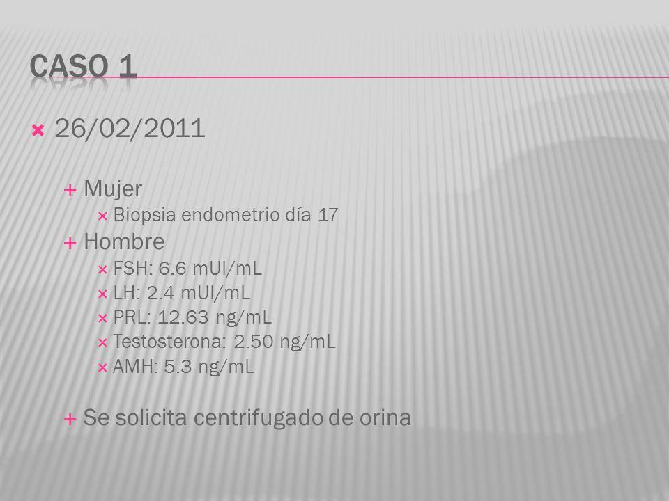 26/02/2011 Mujer Biopsia endometrio día 17 Hombre FSH: 6.6 mUI/mL LH: 2.4 mUI/mL PRL: 12.63 ng/mL Testosterona: 2.50 ng/mL AMH: 5.3 ng/mL Se solicita