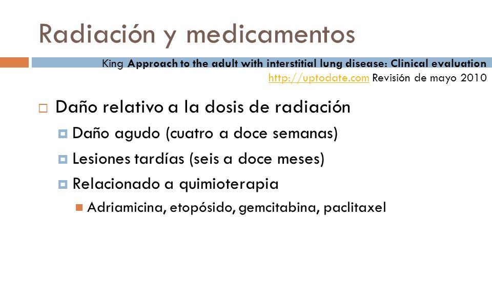 Daño relativo a la dosis de radiación Daño agudo (cuatro a doce semanas) Lesiones tardías (seis a doce meses) Relacionado a quimioterapia Adriamicina,
