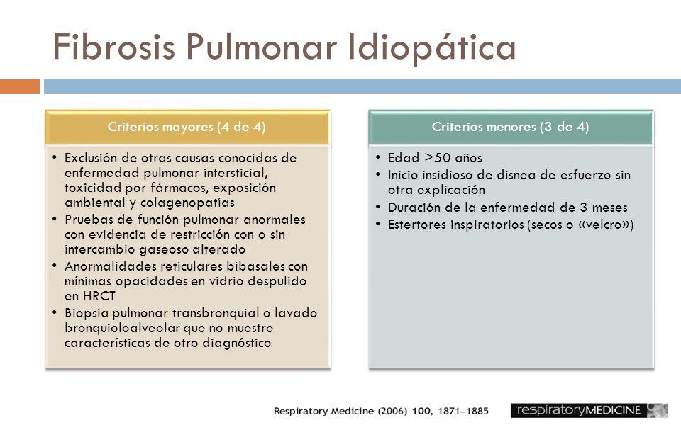 Criterios mayores (4 de 4) Exclusión de otras causas conocidas de enfermedad pulmonar intersticial, toxicidad por fármacos, exposición ambiental y col