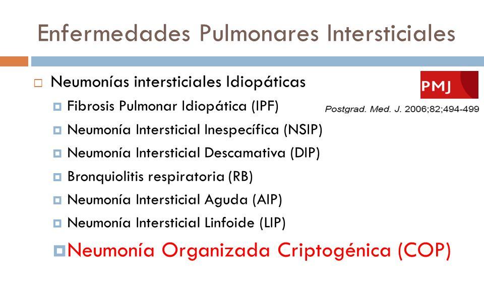 Enfermedades Pulmonares Intersticiales Neumonías intersticiales Idiopáticas Fibrosis Pulmonar Idiopática (IPF) Neumonía Intersticial Inespecífica (NSI
