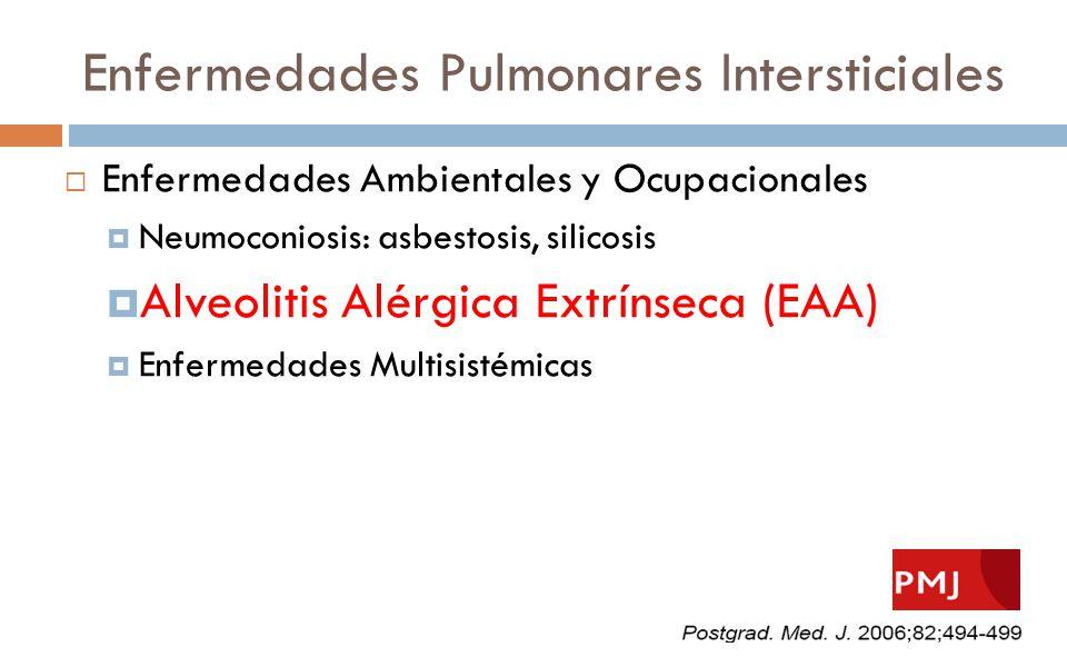 Enfermedades Pulmonares Intersticiales Enfermedades Ambientales y Ocupacionales Neumoconiosis: asbestosis, silicosis Alveolitis Alérgica Extrínseca (E